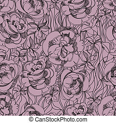 Pattern with sketch of roses