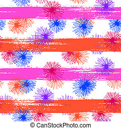 Pattern with small furry flowers or pompoms - Vector...