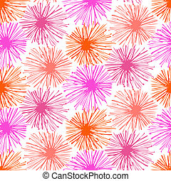Pattern with small furry flowers or pompoms
