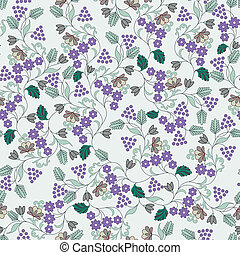 pattern with small lilac flowers and berries