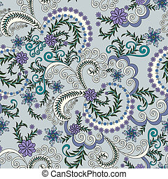 pattern with small lilac flowers on a gray blue background