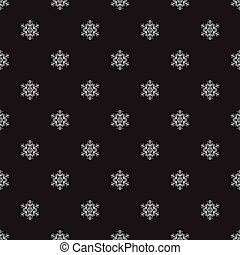 Pattern with snowflakes on a black background. Vector illustration.