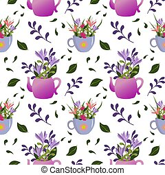 Flowers in a teapot and a mug.