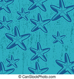 Pattern with star fish on blue grunge background, vector...