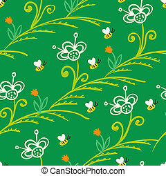Pattern with stylized flowers and bees