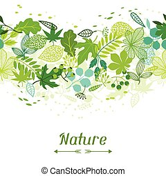 Pattern with stylized green leaves. - Seamless nature...