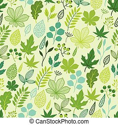 Pattern with stylized green leaves.