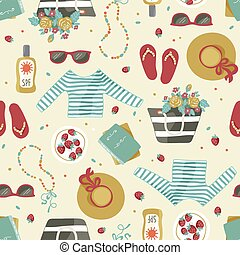 Pattern with summer clothes and accessories.