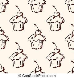 Pattern with sweet fruit cake