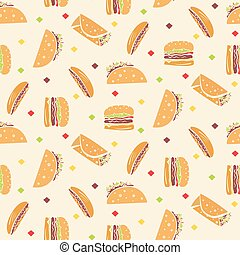 Pattern with tasty fast food in orange colors
