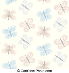 Pattern with tender blue and orange butterflies