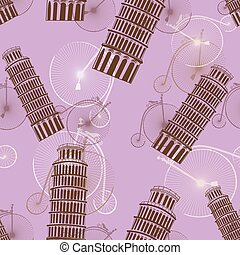 pattern with the Pisa Tower and bicycles