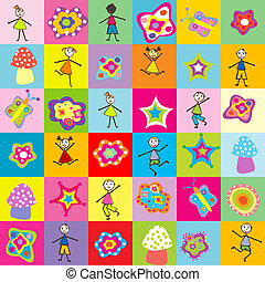 Pattern with toys and kids for kindergarten