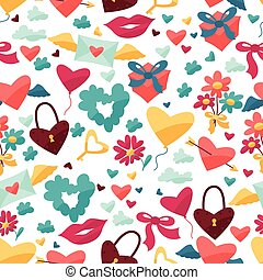 Pattern with Valentine's and Wedding icons.