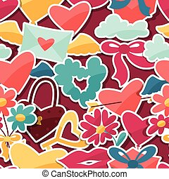 Pattern with Valentine's and Wedding stickers.