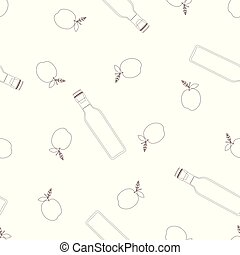 pattern with vinegar - seamless pattern with contour bottles...