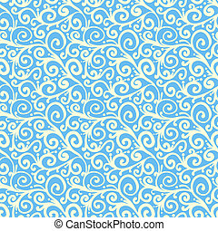 Pattern with waving curls similar to winter frost - White...