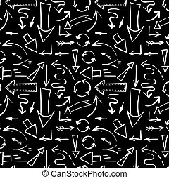 Pattern with white arrows on black background