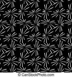 pattern with white fireworks  on black background