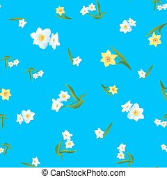 pattern with Yellow and White Daffodils-01
