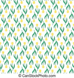 Pattern with yellow tulips