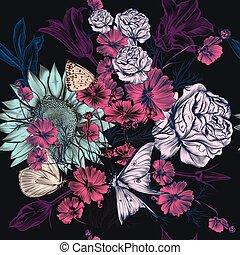 patternd, vindima, mão, vetorial, desenhado, flores, style.eps