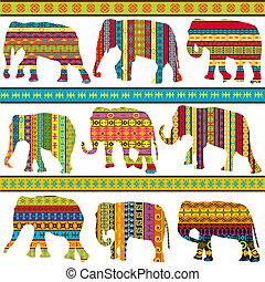 patterned, étnico, arabescos, elefantes