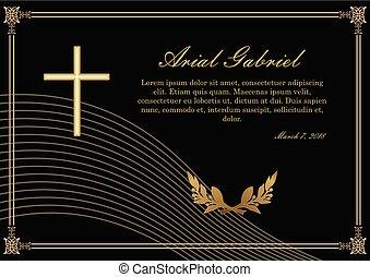 patterned, anúncio, borders., ramos, dourado, funeral, lawrence, luxuoso, obituary, filigrana, pretas, experiência., lavrado, design., crucifixo