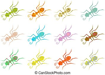 patterned ants - army of abstract colourful ant patterns...