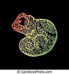 patterned, arco íris, camaleão, drawing., doodle, chameleon., mão, gradiente, vetorial, desenhado