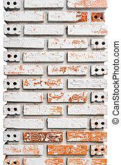 Patterned brick pillars, isolated.
