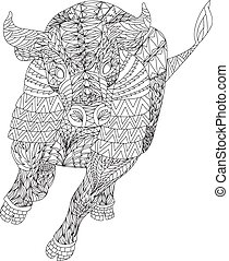 Patterned bull zentangle style. Good for T-shirt, bag or...