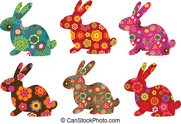 Patterned bunnies - Easter patterned bunnies , vector...