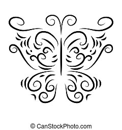 Patterned butterfly with curls isolate