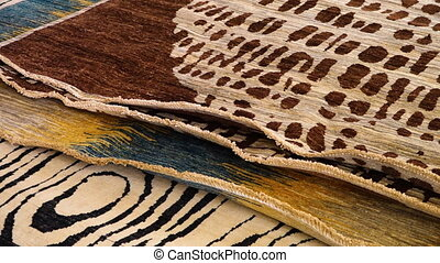 Patterned carpets - A pan to right close up shot of...