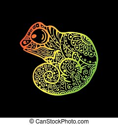Patterned Chameleon drawing. Vector hand Drawn doodle chameleon. Rainbow gradient chameleon