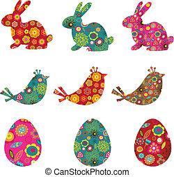patterned, coelhinhos, pássaros, e, ovos