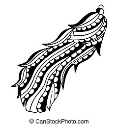 Patterned curved bird feather in black and white with oblique stripes and semicircular inlays. Freehand drawing for a childish or meditative for coloring book, decal or tattoo. Vector.