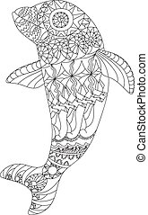 Patterned dolphin zentangle style. Good for T-shirt, bag or...