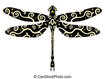 Patterned Dragonfly - Isolated patterned dragonfly
