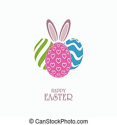 Colorful patterned Easter eggs and bunny ears. Happy Easter banner design.