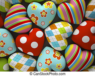 Patterned fabric hearts on dark background