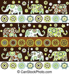 patterned, floral, étnico, fundo, elefantes