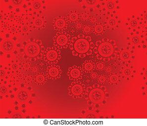 patterned, floral, rode achtergrond