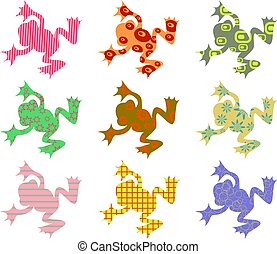 patterned frogs - abstract frog patterns