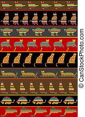 patterned, gatos, ornamentos, fundo, étnico