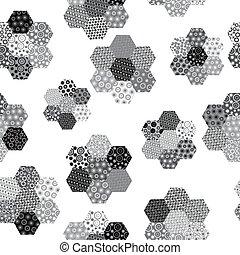 patterned, gedaantes, zwarte achtergrond, witte , zeshoekig