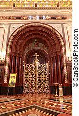 Patterned gilt door in arch inside Cathedral of Christ the Saviour in Moscow, Russia