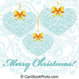 patterned, hart, kerstmis kaart