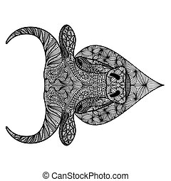 Patterned head of bull or ox. Taurus, buffalo painted tribal ethnic ornament. Hand drawn coloring book in ornate doodle style. Animal face design. Print for t-shirts.